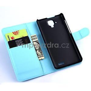Elegantní PU kožené pouzdro na mobil Lenovo A536 - světlemodré - 5