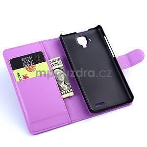 Elegantní PU kožené pouzdro na mobil Lenovo A536 - fialové - 5