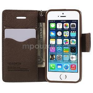 Dvoubarevné peněženkové pouzdro na iPhone 5 a 5s - černé/hnědé - 5