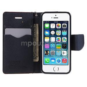 Dvoubarevné peněženkové pouzdro na iPhone 5 a 5s - červené/tmavěmodré - 5