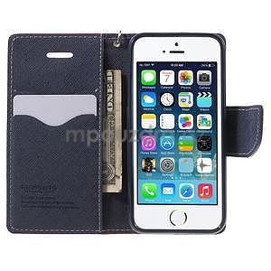 Dvoubarevné peněženkové pouzdro na iPhone 5 a 5s - rose/tmavěmodré - 5