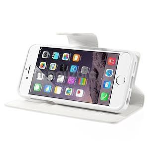 Peněženkové koženkové pouzdro na iPhone 5s a iPhone 5 - bílé - 5