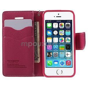 Dvoubarevné peněženkové pouzdro na iPhone 5 a 5s - růžové/rose - 5