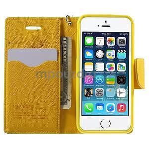 Dvoubarevné peněženkové pouzdro na iPhone 5 a 5s - zelené/žluté - 5