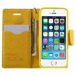 Dvoubarevné peněženkové pouzdro na iPhone 5 a 5s - zelené/žluté - 5/7