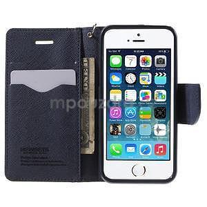 Dvoubarevné peněženkové pouzdro na iPhone 5 a 5s - zelené/tmavěmodré - 5
