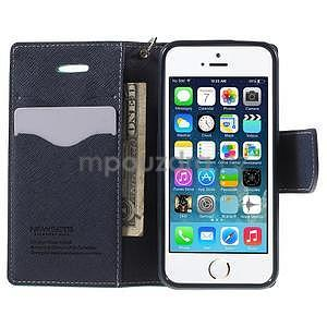 Dvoubarevné peněženkové pouzdro na iPhone 5 a 5s - azurové/tmavěmodré - 5
