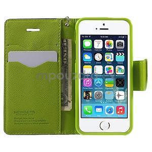 Dvoubarevné peněženkové pouzdro na iPhone 5 a 5s - tmavěmodré/zelené - 5