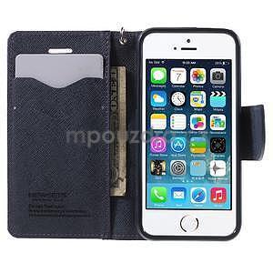 Dvoubarevné peněženkové pouzdro na iPhone 5 a 5s - fialové/tmavěmodré - 5
