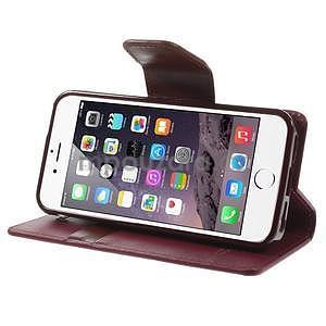 Peněženkové koženkové pouzdro na iPhone 5s a iPhone 5 - vínové - 5