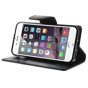 Černé koženkové peněženkové pouzdro na iPhone 5s a iPhone 5 - 5