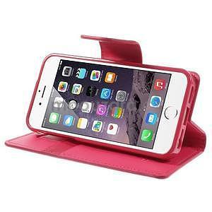Peněženkové koženkové pouzdro na iPhone 5s a iPhone 5 - rose - 5