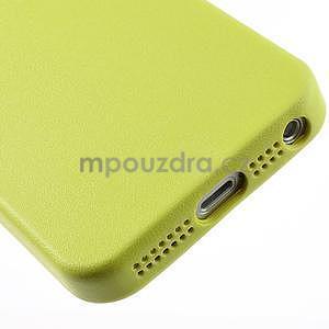 Gelový obal s texturou na iPhone 5 a 5s - žlutozelený - 5