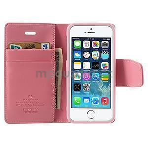Peněženkové koženkové pouzdro na iPhone 5s a iPhone 5 - růžové - 5