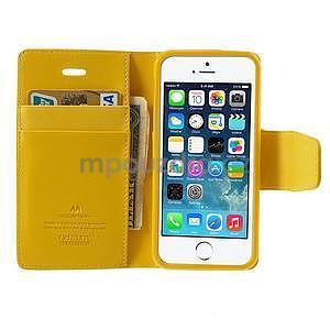 Peněženkové koženkové pouzdro na iPhone 5s a iPhone 5 - žluté - 5