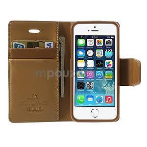 Peněženkové koženkové pouzdro na iPhone 5s a iPhone 5 - coffee - 5