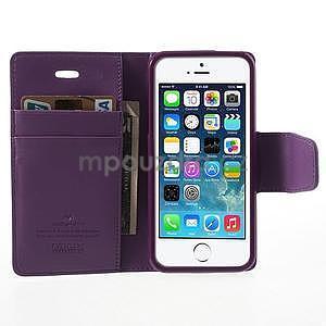 Peněženkové koženkové pouzdro na iPhone 5s a iPhone 5 - fialové - 5