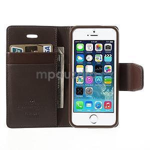 Peněženkové koženkové pouzdro na iPhone 5s a iPhone 5 - hnědé - 5