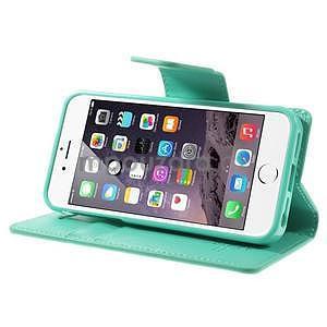 Peněženkové koženkové pouzdro na iPhone 5s a iPhone 5 - azurové - 5