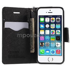 Dvoubarevné peněženkové pouzdro na iPhone 5 a 5s - černé/ černé - 5