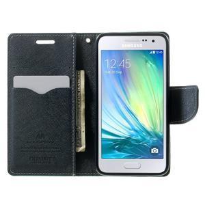 Diary PU kožené pouzdro na Samsung Galaxy A3 - cyan - 5