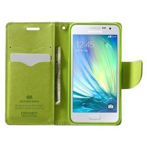 Diary PU kožené pouzdro na Samsung Galaxy A3 - tmavěmodré - 5