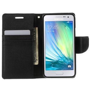 Luxury textilní/koženkové pouzdro na Samsung Galaxy A3 - černé - 5