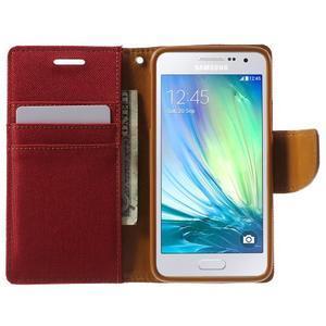 Luxury textilní/koženkové pouzdro na Samsung Galaxy A3 - červené - 5
