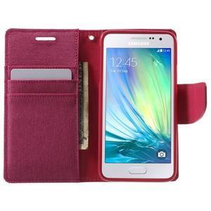 Luxury textilní/koženkové pouzdro na Samsung Galaxy A3 - rose - 5