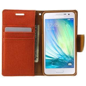 Luxury textilní/koženkové pouzdro na Samsung Galaxy A3 - oranžové - 5