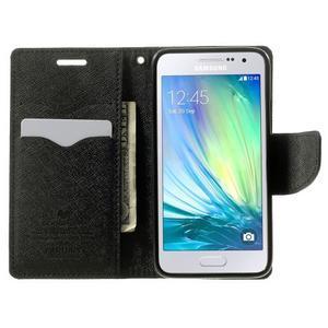 Diary PU kožené pouzdro na Samsung Galaxy A3 - černé - 5