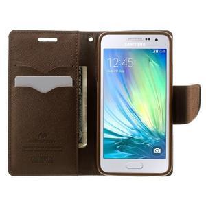 Diary PU kožené pouzdro na Samsung Galaxy A3 - černé/hnědé - 5
