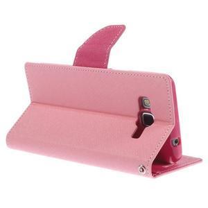 Diary PU kožené pouzdro na mobil Samsung Galaxy Grand Prime - růžové - 5