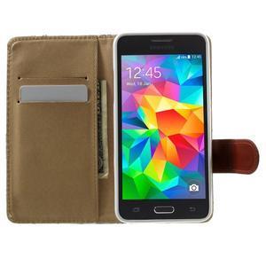 Květinové koženkové pouzdro na Samsung Galaxy Grand Prime - bíllé pozadí - 5