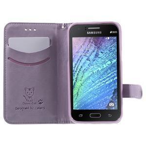 Koženkové pouzdro s kočičkou Domi na Samsung Galaxy J1 - fialové - 5