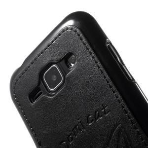 Obal s koženkovými zády a kočičkou Domi pro Samsung Galaxy J1 - černý - 5
