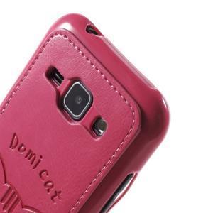 Obal s koženkovými zády a kočičkou Domi pro Samsung Galaxy J1 - magneta - 5