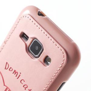 Obal s koženkovými zády a kočičkou Domi pro Samsung Galaxy J1 - růžový - 5