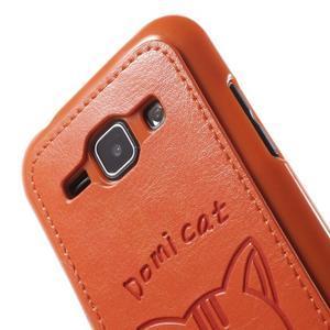 Obal s koženkovými zády a kočičkou Domi pro Samsung Galaxy J1 - oranžový - 5