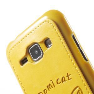 Obal s koženkovými zády a kočičkou Domi pro Samsung Galaxy J1 - žlutý - 5