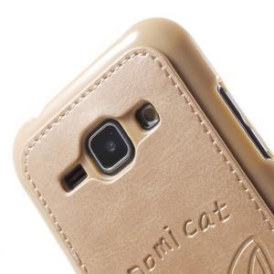 Obal s koženkovými zády a kočičkou Domi pro Samsung Galaxy J1 - zlatý - 5