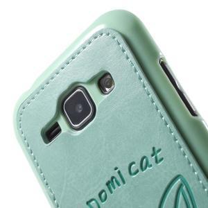 Obal s koženkovými zády a kočičkou Domi pro Samsung Galaxy J1 - azurový - 5
