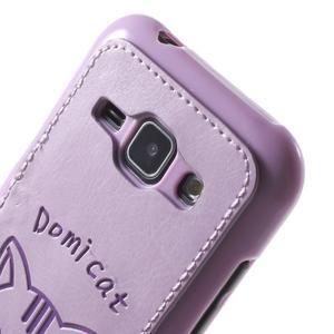 Obal s koženkovými zády a kočičkou Domi pro Samsung Galaxy J1 - fialový - 5