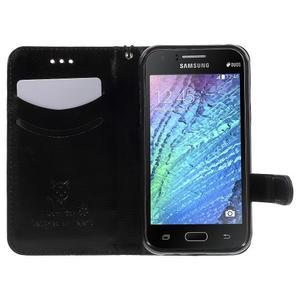 Koženkové pouzdro s kočičkou Domi na Samsung Galaxy J1 - černé - 5