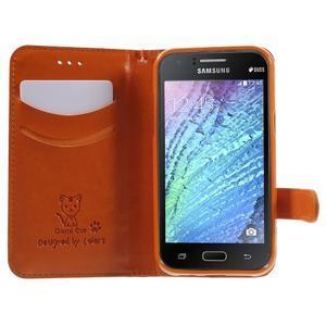 Koženkové pouzdro s kočičkou Domi na Samsung Galaxy J1 - oranžové - 5