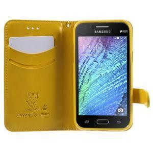 Koženkové pouzdro s kočičkou Domi na Samsung Galaxy J1 - žluté - 5
