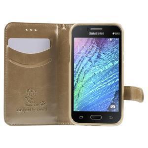 Koženkové pouzdro s kočičkou Domi na Samsung Galaxy J1 - zlaté - 5
