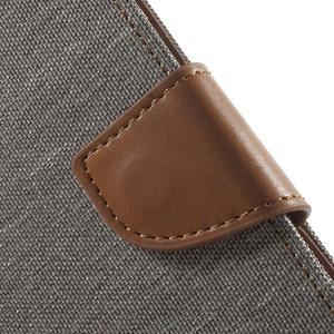 Luxury textilní/pu kožené pouzdro na Samsung Galaxy J5 - šedé - 5