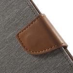Luxury textilní/pu kožené pouzdro na Samsung Galaxy J5 - šedé - 5/7