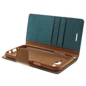 Luxury textilní/pu kožené pouzdro na Samsung Galaxy J5 - zelenomodré - 5